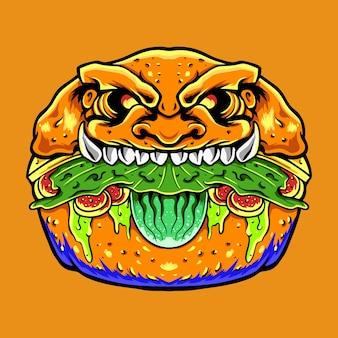 Ilustração vetorial premium de hambúrguer assustador de zumbi