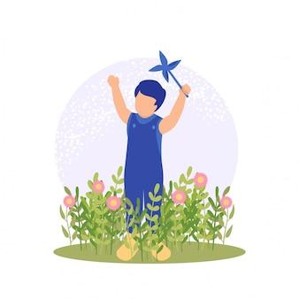 Ilustração vetorial primavera menino fofo brincando de flor