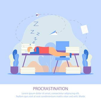 Ilustração vetorial procrastinação lettering.