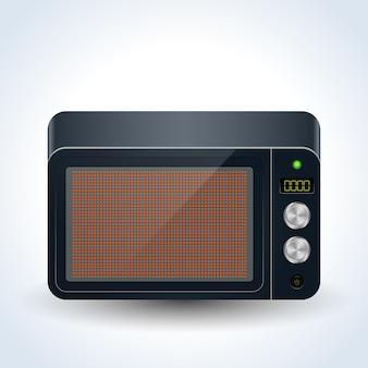 Ilustração vetorial realista de forno de microondas