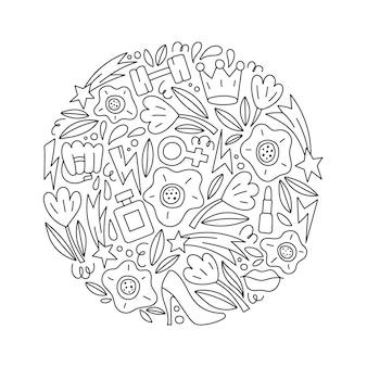 Ilustração vetorial redonda com símbolos e objetos femininos e feministas. conceito de feminismo. poder feminino