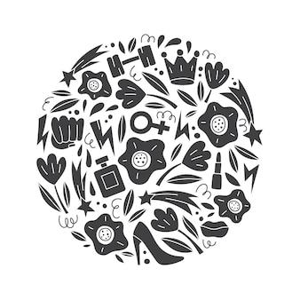 Ilustração vetorial redonda com símbolos e objetos femininos e feministas. conceito de feminismo.