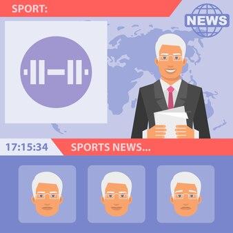 Ilustração vetorial, repórter e notícias esportivas, formato eps 10