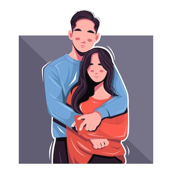 Ilustração vetorial retrato de casal romântico
