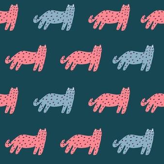 Ilustração vetorial retro simples gato motivo padrão de repetição perfeita arte digital decoração para casa imprimir