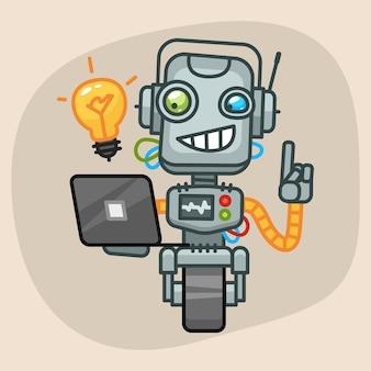 Ilustração vetorial, robô segurando laptop e ideia surgiu, formato eps 10