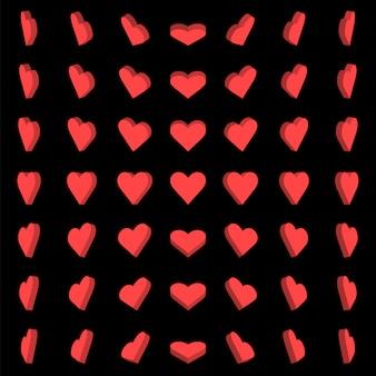 Ilustração vetorial, rotação de caixa de coração vermelho 0,30,45,60 graus