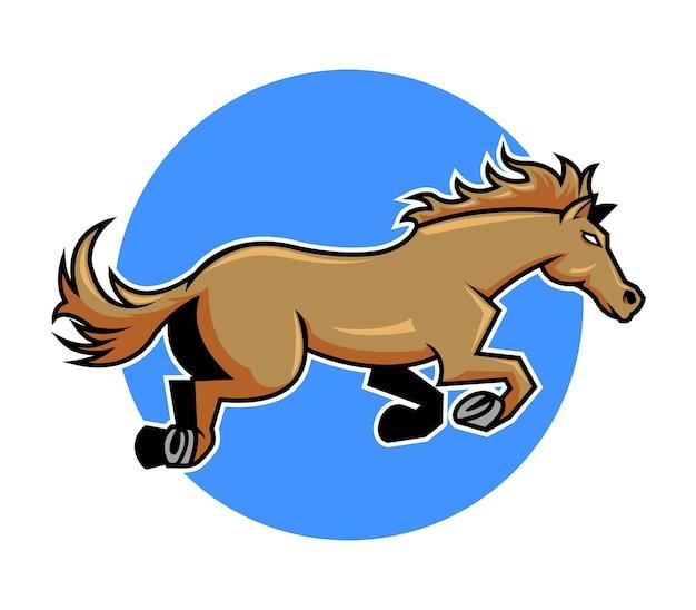 Ilustração vetorial saltando cavalo marrom