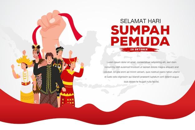 Ilustração vetorial. selamat hari sumpah pemuda. tradução: feliz compromisso da juventude indonésia. adequado para cartão comemorativo, pôster e banner