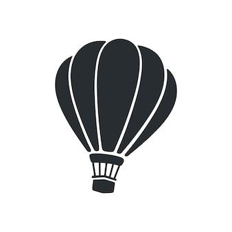 Ilustração vetorial silhueta de balão de ar quente transporte aéreo isolado no fundo branco