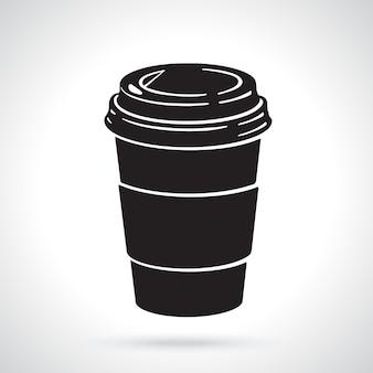 Ilustração vetorial silhueta de copo de papel descartável com café ou chá
