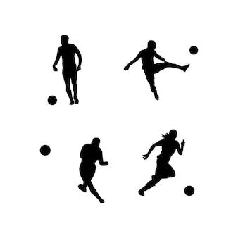 Ilustração vetorial silhueta de jogador de futebol