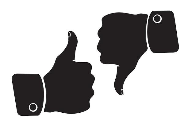 Ilustração vetorial silhueta de polegar para cima e para baixo símbolos de gosto e não gosto