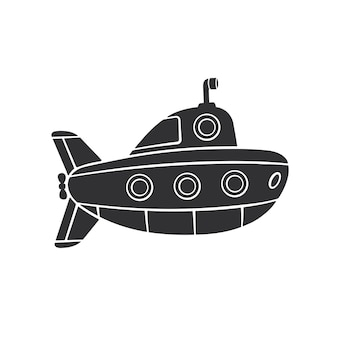 Ilustração vetorial silhueta de submarino com periscópio e vigias