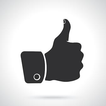 Ilustração vetorial silhueta do polegar para cima, símbolo de semelhante