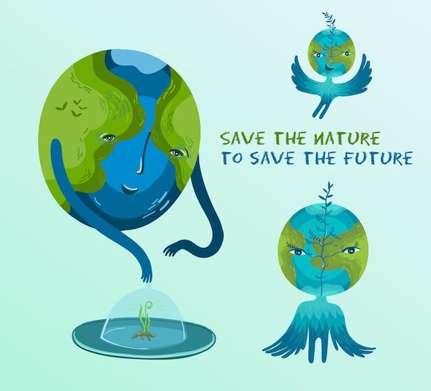 Ilustração vetorial sobre a conservação de árvores e plantas no planeta terra.