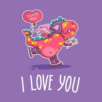 Ilustração vetorial sobre dinozaur no amor