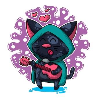 Ilustração vetorial sobre gato apaixonado