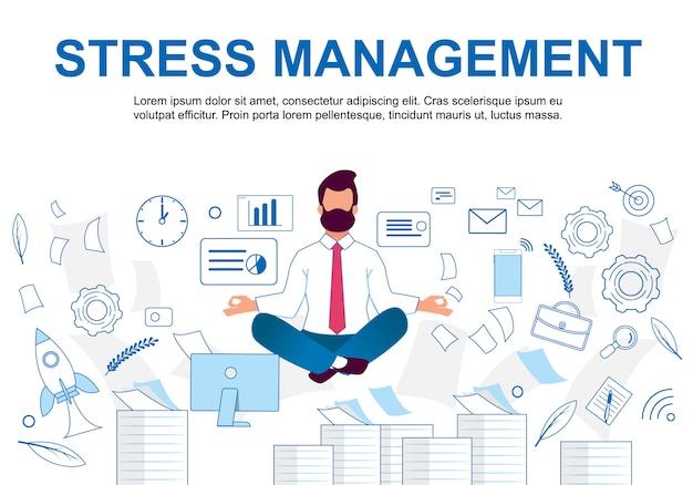 Ilustração vetorial stress management cartoon.