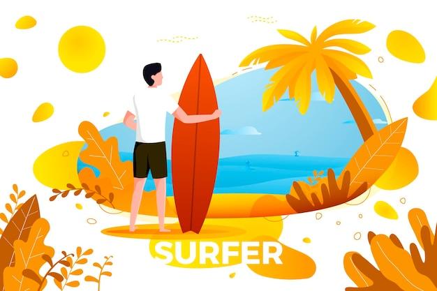Ilustração vetorial - surfando o homem em uma praia. palmeiras, areia, oceano no fundo. banner, site, modelo de cartaz com lugar para o seu texto.