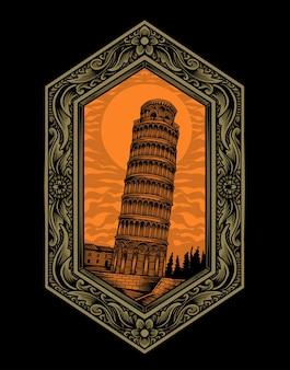 Ilustração vetorial torre de pisa com ornamento de gravura vintage.