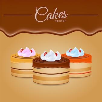 Ilustração vetorial: três bolos com chocolate
