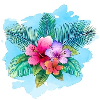 Ilustração vetorial tropical com folhas de palmeira exóticas, flores de hibisco com estilo aquarela azul.