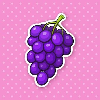 Ilustração vetorial um cacho de uvas com bagas roxas redondas comida vegetariana saudável