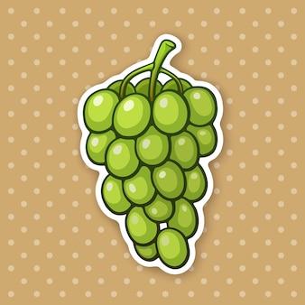 Ilustração vetorial um cacho de uvas com bagas verdes ovais comida vegetariana saudável