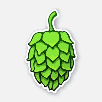 Ilustração vetorial um cone verde de lúpulo símbolo de bebida alcoólica