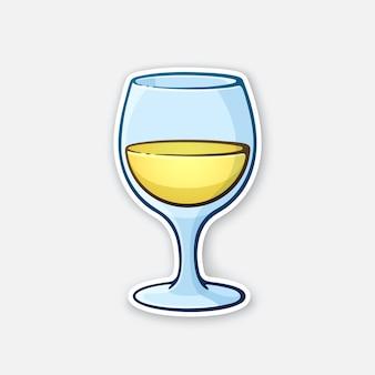 Ilustração vetorial um copo de vinho branco cálice de vidro com bebida alcoólica adesivo em estilo cartoon