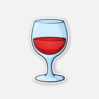 Ilustração vetorial um copo de vinho tinto cálice de vidro com bebida alcoólica adesivo em estilo cartoon