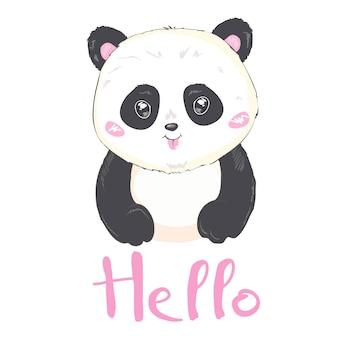 Ilustração vetorial: um panda gigante bonito dos desenhos animados está sorrindo e dizer olá