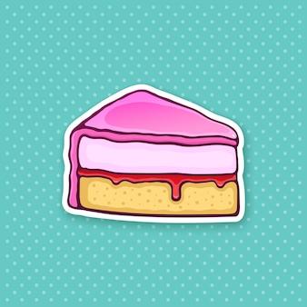 Ilustração vetorial um pedaço de bolo com creme de esmalte rosa, fondant e confiture