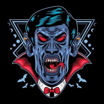 Ilustração vetorial vampiro drácula de halloween com estilo de desenho animado retro vintage em fundo preto