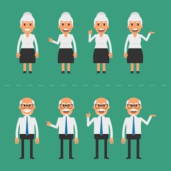 Ilustração vetorial, velho e mulher em várias poses, formato eps 10.