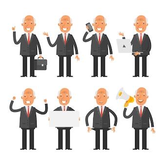 Ilustração vetorial, velho empresário em poses diferentes, formato eps 10