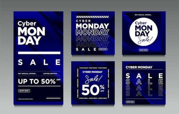 Ilustração vetorial venda da cyber monday para postagem nas redes sociais