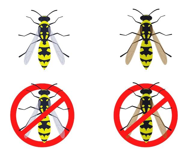 Ilustração vetorial vespa vespa e sinal de proibição
