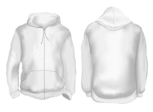 Ilustração vetorial. vista frontal e traseira do casaco com capuz em branco. isolado no branco