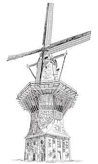 Ilustração vetorial windmill de gooyer em amsterdam