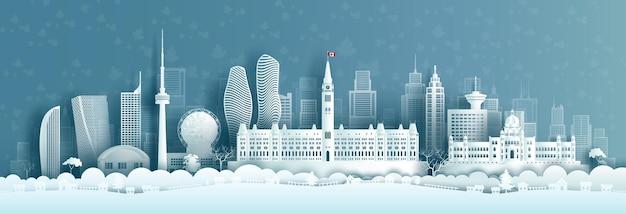 Ilustração viagens marcos arquitetura canadá em estilo de corte de papel
