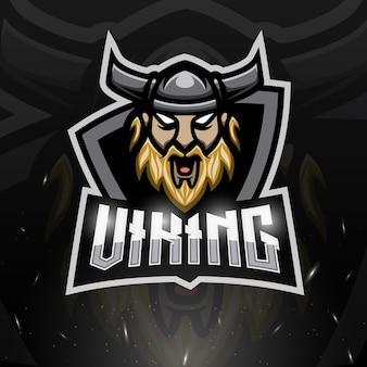 Ilustração viking head mascote esport