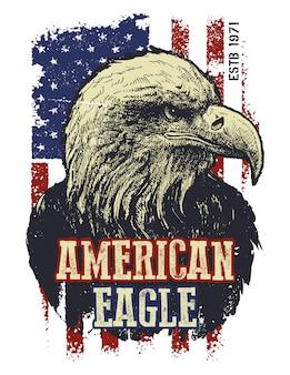 Ilustração vintage águia americana