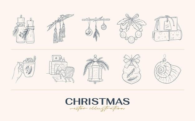 Ilustração vintage boho natal desenhada à mão