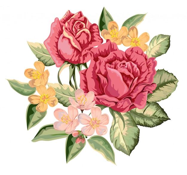 Ilustração vintage buquê de rosas