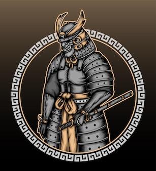 Ilustração vintage cinza samurai.