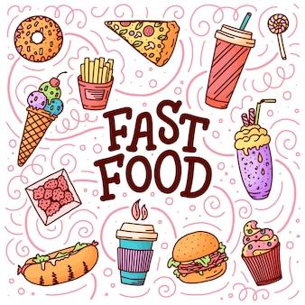 Ilustração vintage com fast-food doodle elementos e letras