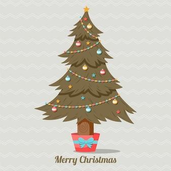 Ilustração vintage da árvore de natal