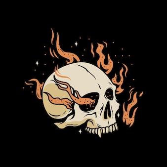 Ilustração vintage da cabeça do crânio com fogo ardente